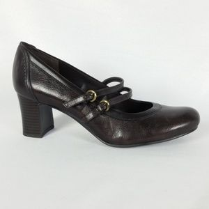 Naturalizer 9 Brown Leather Mary Jane Heels S23-10